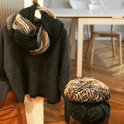Cuello lana combinada