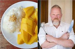 Lipnių ryžių ir mango desertas iš Tailando