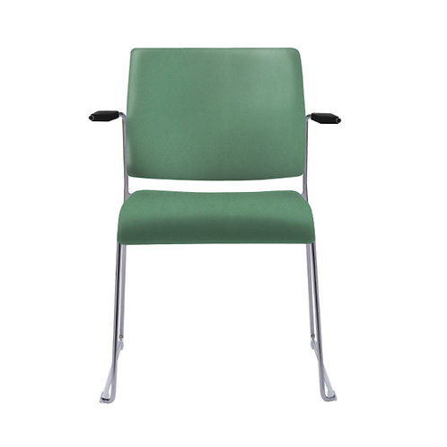 Tuck Upholstered Sled Base Arm Chair