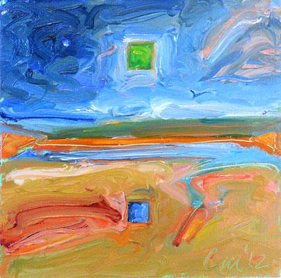 Blue Cube on the Marsh