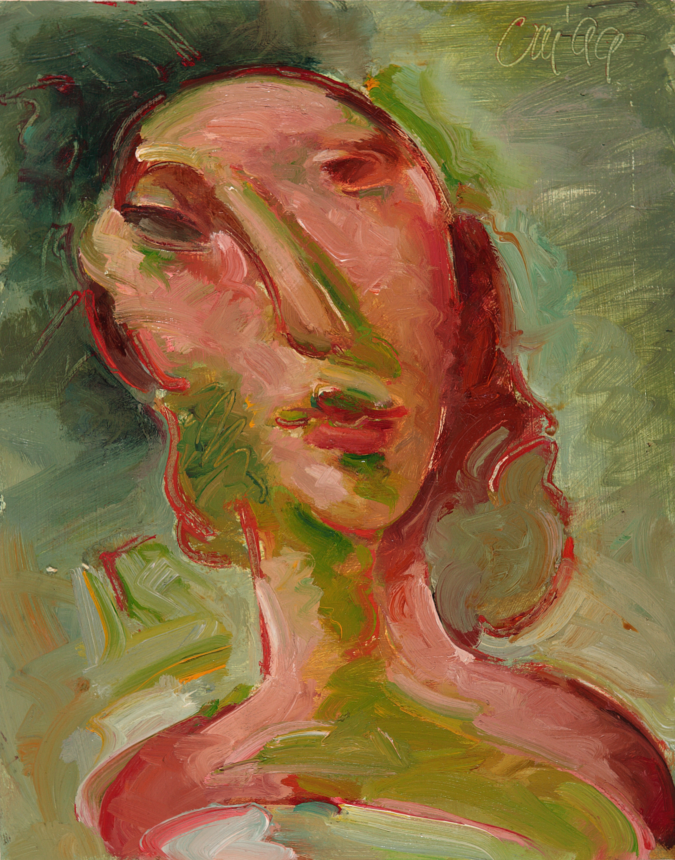 Head Study for 'Wallpaper Behind Nude Figure'