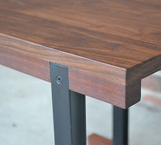 modern walnut and steel side table