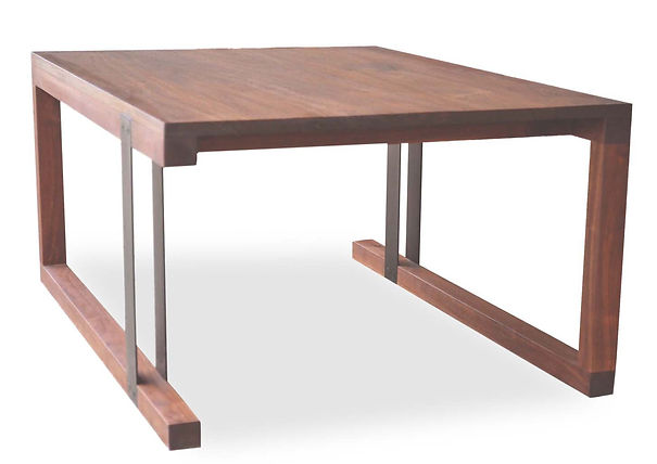 walnut and steel coffee table