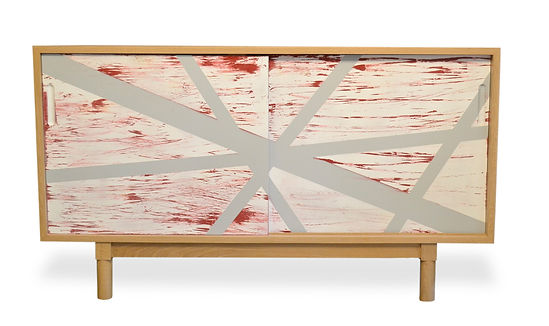 abstract painted media cabinet