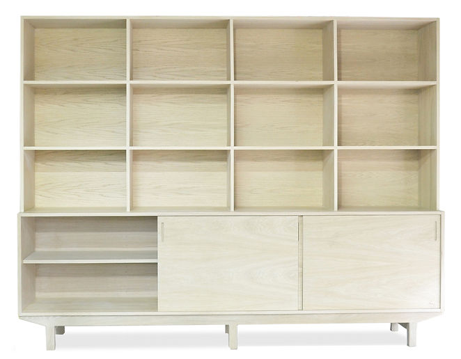 modern white oak bookcase