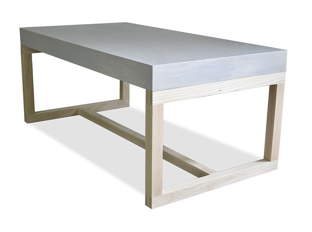 modern concrete and wood coffee table