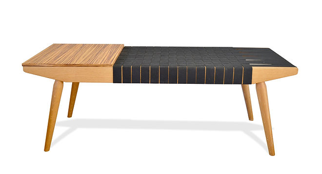modern zebra wood webbed bench