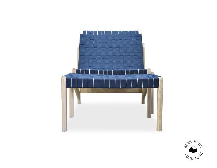 ash webbed lounge chair