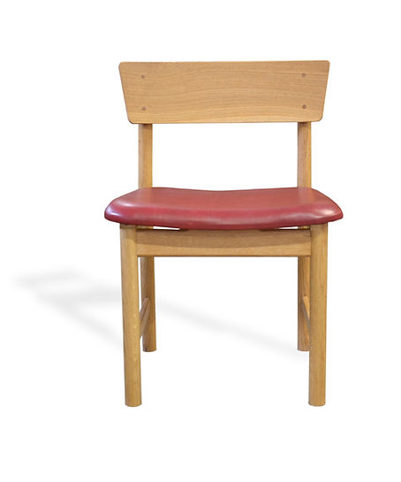 white oak and red leather dining chair
