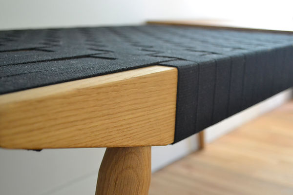 modern zebrawood webbed bench