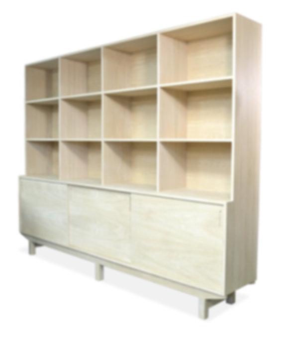 modern white oak bookcase