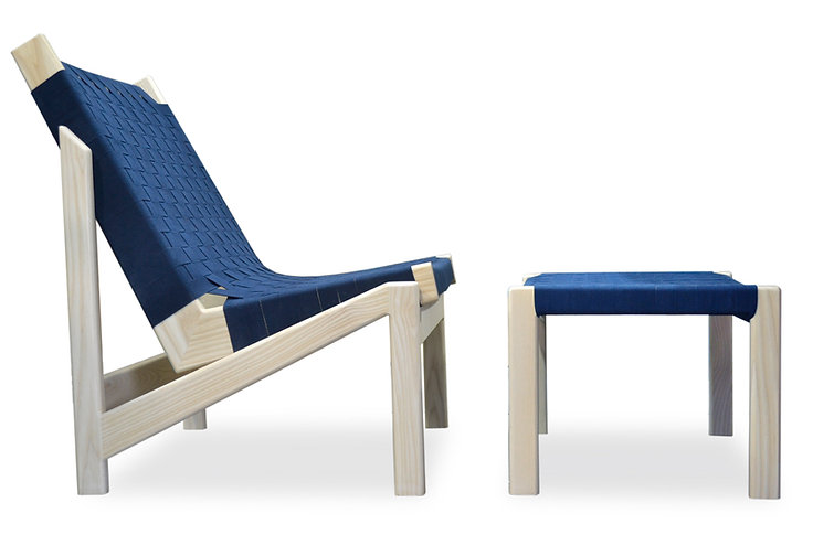 ash webbed lounge chair