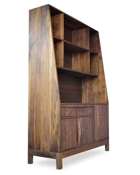 modern walnut bookcase