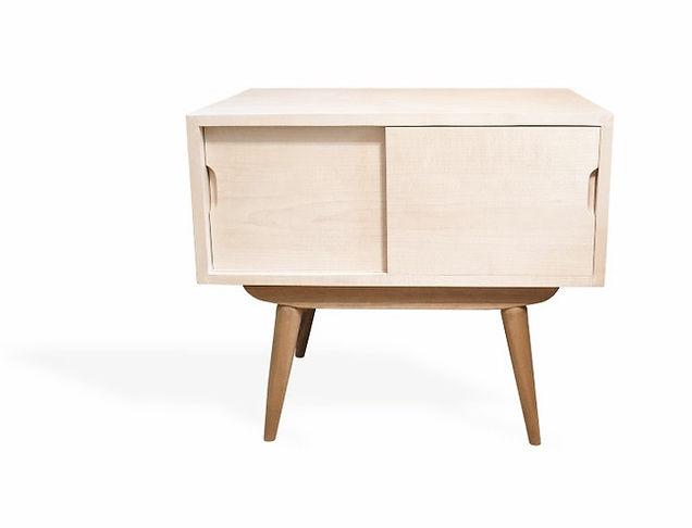 midcentury maple and cherry nightstand
