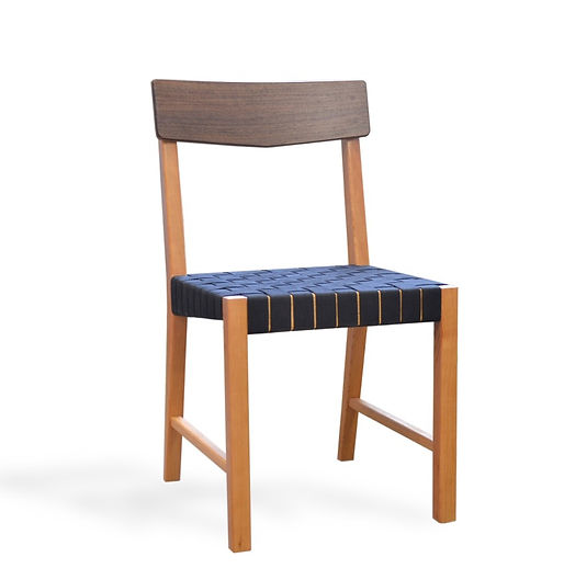 cherry and walnut webbed dining chair
