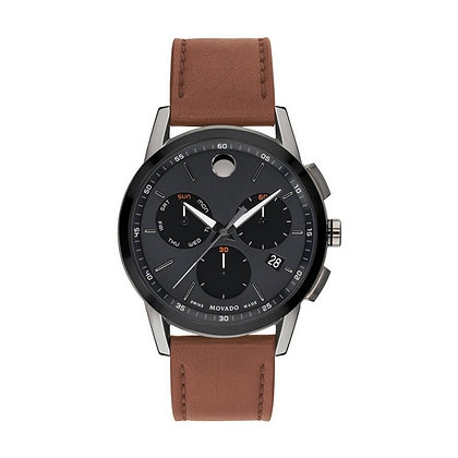 MOVADO MUSEUM SPORT Men's Chronograph Black Dial Brown  Leather Strap
