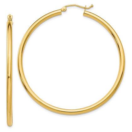 QG 14K Polished 2.5mm Tube Hoop Earrings