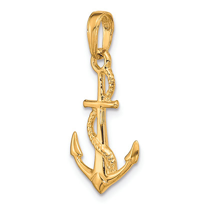 QG 14K Yellow Gold SOLID POLISHED 3-D ANCHOR PENDANT