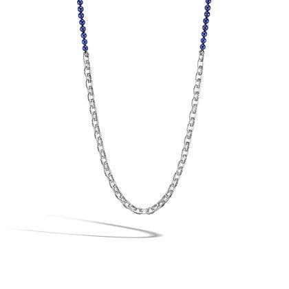 JOHN HARDY Classic Chain Silver Nk W/ 6mm Lapis Lazuli Beads Sz 28