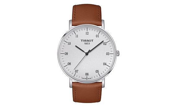 TISSOT EVERYTIME LARGE MEN'S WATCH Silver Dial Brown Leather Strap