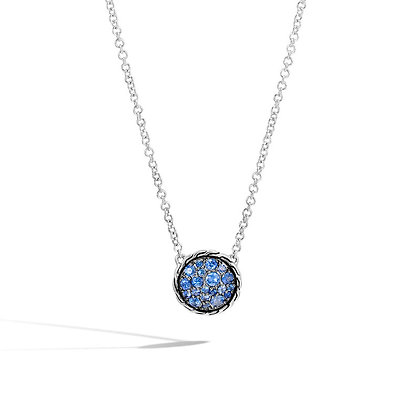 JOHN HARDY Classic Chain Round Necklace with Blue  Sapphire SZ 16-18