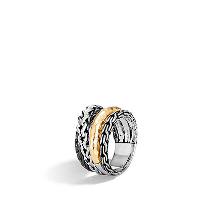 JOHN HARDY Asli Classic Chain Link Ring with 18k Yellow Gold Accent SZ 7