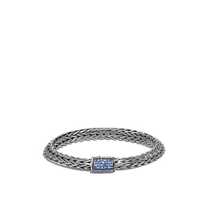 JOHN HARDY Tiga Chain Blackened Bracelet with Blue Sapphire M 8mm