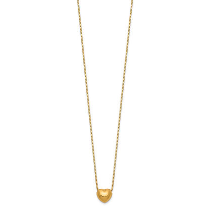 "QG 14k Yellow Gold 16"" Heart Charm Necklace"
