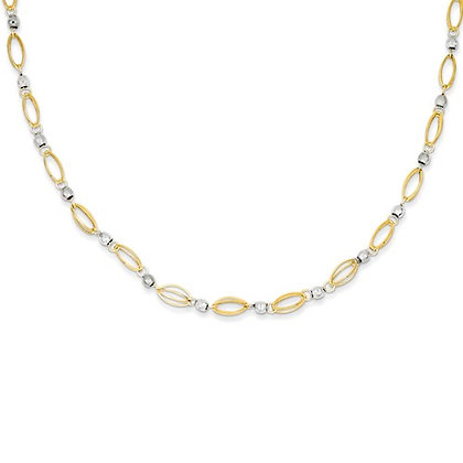 QG 14K Two-Tone Fancy Mirror Bead Necklace