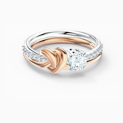 SWAROVSKI  Lifelong Heart Ring, White, Mixed metal finish size 7,8.