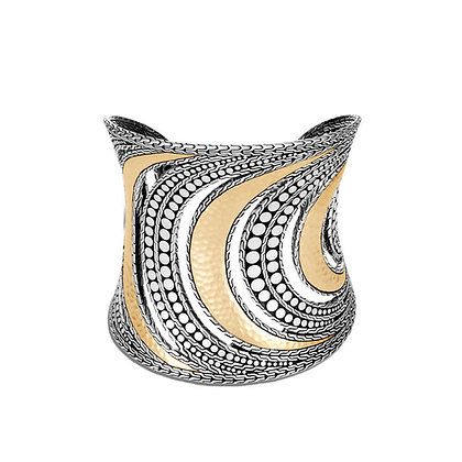 JOHN HARDY Dot Hammered Cuff with 18k Yellow Gold M 74mm