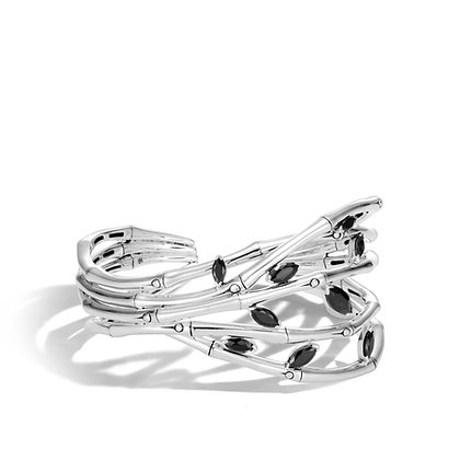 JOHN HARDY Women'S Bamboo Silver Flex Cuff With Black Spinel, Size S-M