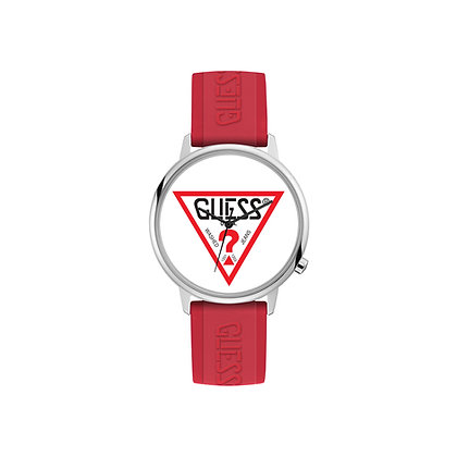 GUESS CLASSiC  WATCH White Logo Dial Red Silicone Strap