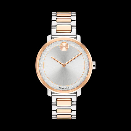 MOVADO BOLD SHImmER Silver Tone Dial 2 Tone Rose Gold Plated Stainless Steel