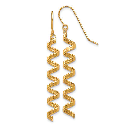 QG 14K Yellow Gold FANCY SPIRAL DROP EARRINGS