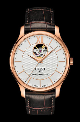 TISSOT TRADITION MEN'S WATCH POWERMATIC 80 OPEN HEART Rose Gold Plated