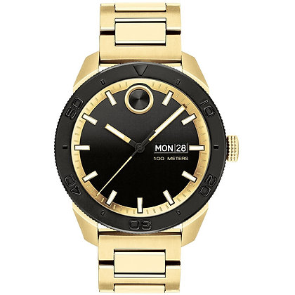MOVADO BOLD SPORTS Black Dial Yellow Gold Plated