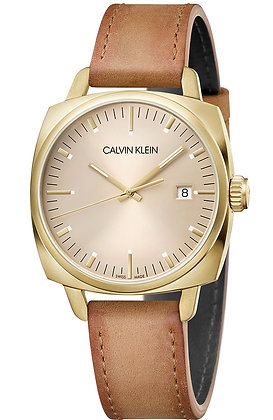 CALVIN KLEIN Watch Fraternity Stainless steel gold/Brown Leather Strap