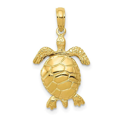 QG 14K Solid Polished 3-D Moveable Turtle Pendant