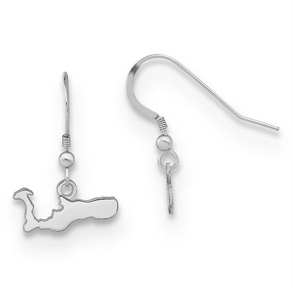 QG Sterling Silver White Rhodium Cayman Island Dangle Earrings