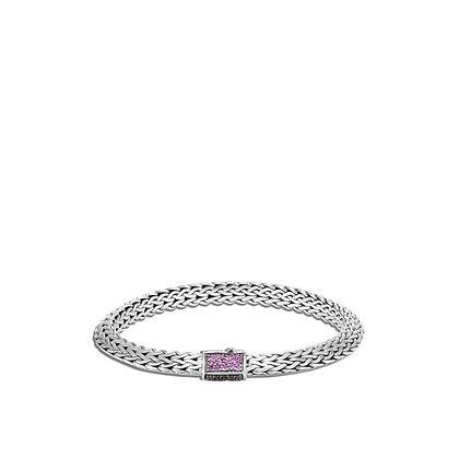 JOHN HARDY Tiga Chain Bracelet, Pink & Black Sapphire, Spinel M 6.5mm