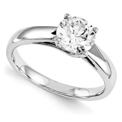 QG 14k White Gold Engagement Ring Polished Mounting