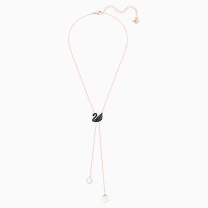 SWAROVSKI Iconic Swan Y Necklace, Black, Rose-gold tone plated
