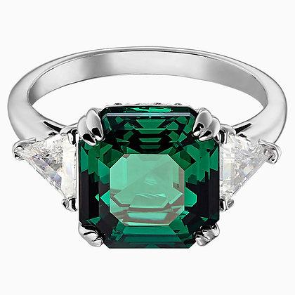 SWAROVSKI Attract Cocktail Ring, Green, Rhodium plated size 6,