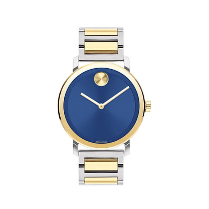 MOVADO BOLD CARIBBEAN EXCLUSIVE LG Blue Dial 2 Tone Yellow Gold Stainless steel
