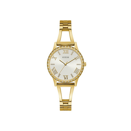 GUESS LUCY WOMEN'S WATCH White Dial Gold Plated Stainless Steel