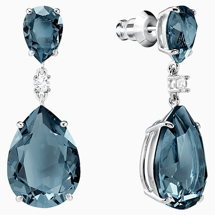 SWAROVSKI Vintage Drop Pierced Earrings, Teal, Rhodium plated