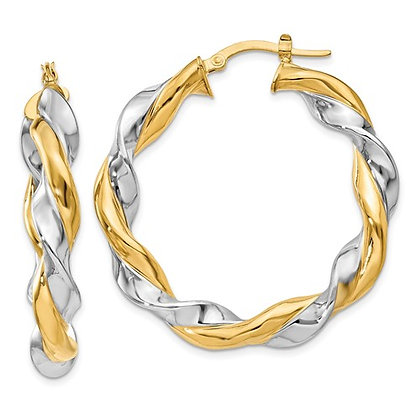QG 14k Yellow Gold And Rhodium Twisted Hoop Earrings