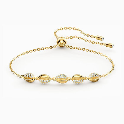 SWAROVSKI  Shell Cowrie Bracelet, White, Gold-tone plated