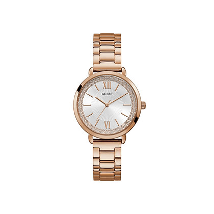 GUESS POSH WOMEN'S WATCH White Glittered Dial Rose Gold Plated Stainless Steel
